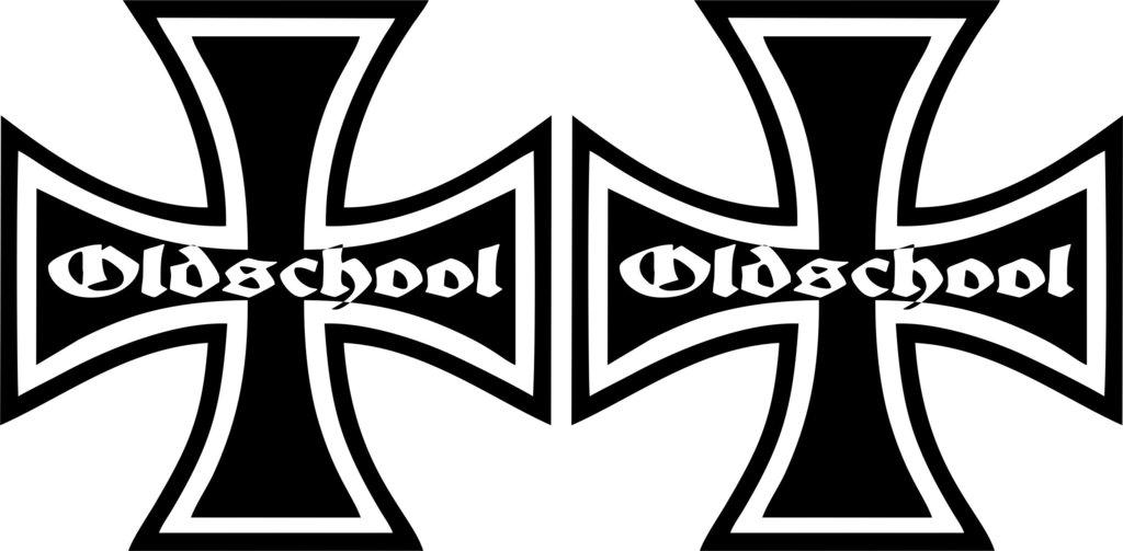 Oldschool Aufkleber Eisernes Kreuz Im Set Verschiedene Farben Und Größen